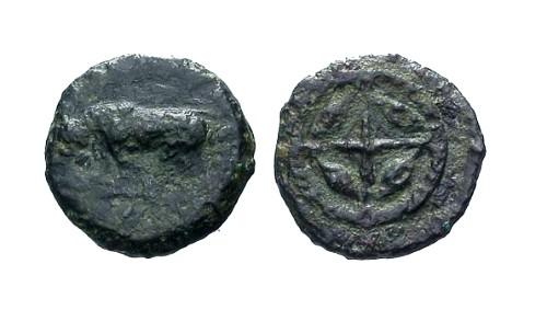 Ancient Coins - F+/F+ Sicily Gela AE Onkia / Bull / Wheel with barley