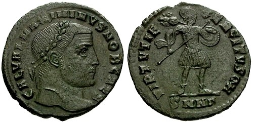 Ancient Coins - @@Failmezger Collection@@ **PLATE COIN** VF/VF Maximinus II as Caesar AE Follis / VIRTVTI EXERCITVS