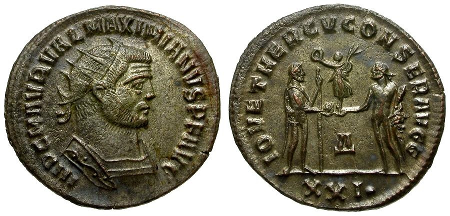 Ancient Coins - Maximianus Silvered Post Reform Radiate  / Jupiter and Hercules