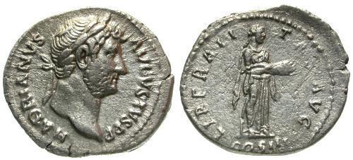 Ancient Coins - gVF/VF Hadrian AR Denarius / Liberalitas