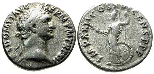 Ancient Coins - VF/VF Domitian AR Denarius / Minerva