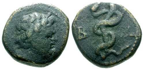 Ancient Coins - aVF/VF Mysia Pergamon AE14 / Asklepios / Serpent about staff