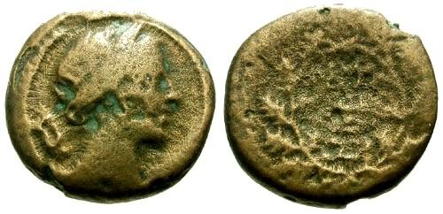 Ancient Coins - F/F Peloponnesos Zakynthos AE17 / Artemis / Quiver