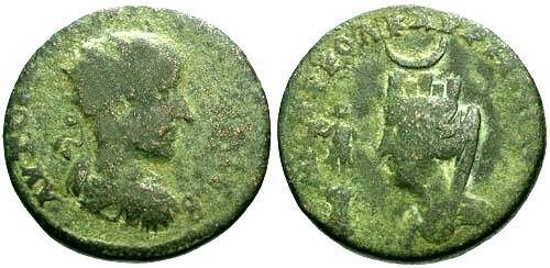 Ancient Coins - gF/aVF Gordian III Mesopotamia Carrhae AE27 / Tyche