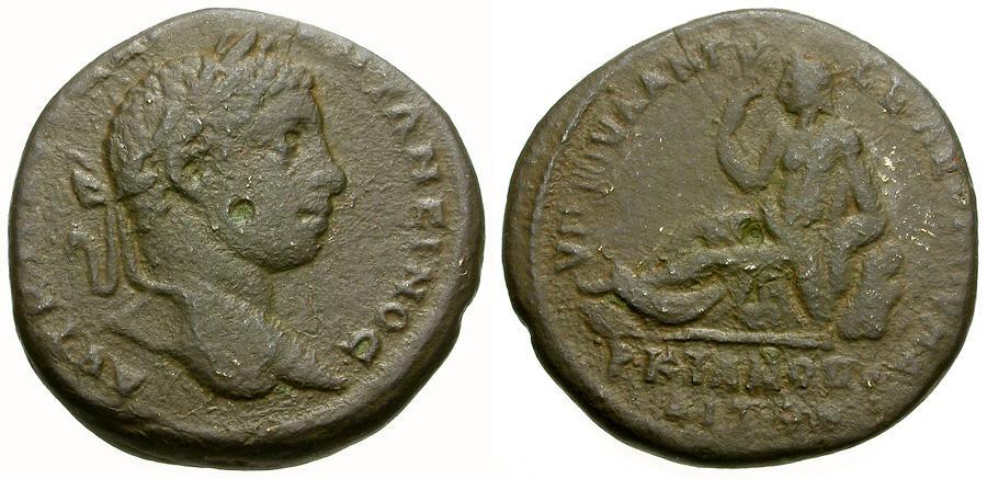 Ancient Coins - Elagabalus.  Moesia Inferior. Marcianopolis Æ25 / River god