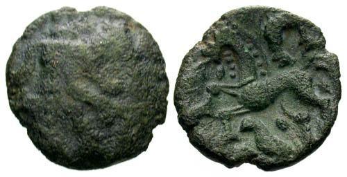 Ancient Coins - F/gVF Ambiani Bronze / Horse & Boar & Bird