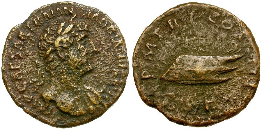 Ancient Coins - Hadrian Æ Quadrans / Rostrum Tridens