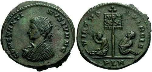 Ancient Coins - EF/EF Constantine II AE / Captives / London mint