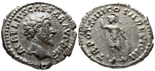 Ancient Coins - VF/VF Marcus Aurelius as Caesar AR Denarius / Mars