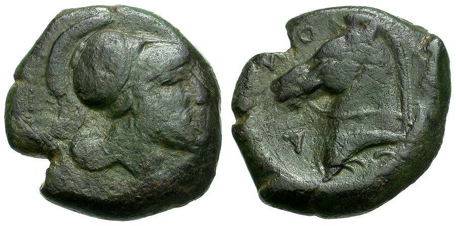 Ancient Coins - Italy.  Neapolis. Anonymous Æ Litra / Horse