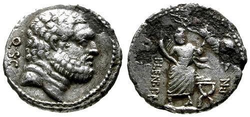 Ancient Coins - VF/VF Roman Republic AR Fouree Denarius  / Hercules / Genius