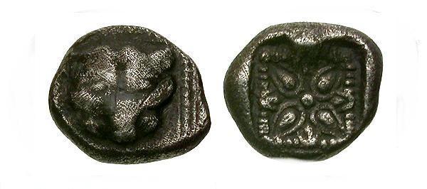 Ancient Coins - VF/VF Ionia Miletos AR Trihemiobol / Lion Facing