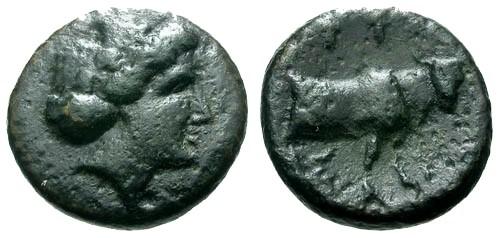 Ancient Coins - aVF/aVF Euboia Histiaia AE13 / Nymph / Bull