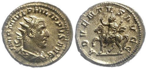 Ancient Coins - EF/EF Philip I AR Antoninianus Philip riding Horse
