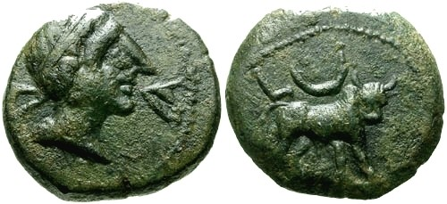Ancient Coins - chVF/chVF Spain Castulo AE 18 / Bull