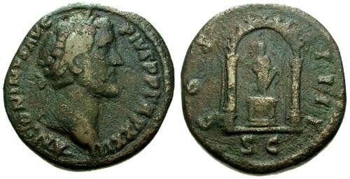 Ancient Coins - aVF/aVF Antoninus Pius AE AS / Shrine