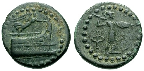Ancient Coins - VF/VF Lycia Phaselis AE19 / Prow and Nike / Athena