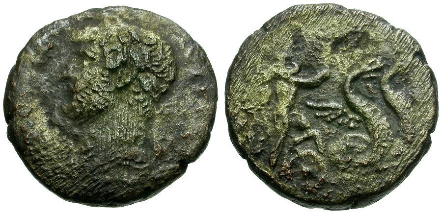 Ancient Coins - Hadrian.  Egypt. Alexandria BI Tetradrachm / Triptolemos in Serpent Biga
