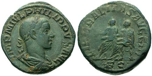 Ancient Coins - aEF/VF Philip II AE Sestertius / Philip I and II