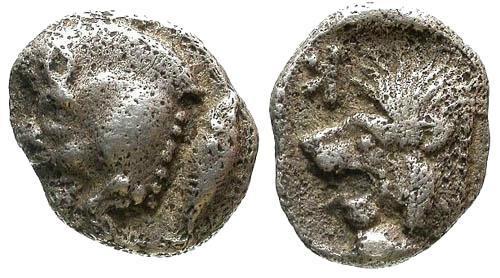 Ancient Coins - VF/VF Mysia Kyzikos AR Obol / Lion Boar and Tunny