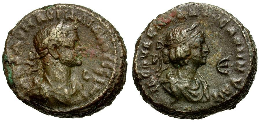 Ancient Coins - Aurelian and Vabalathus. Egypt. Alexandria Billon Tetradrachm