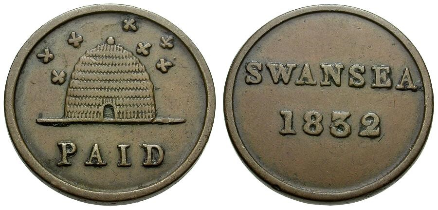 World Coins - England.  Swansea (Glamorganshire) Copper Paid Farthing Token / Beehive