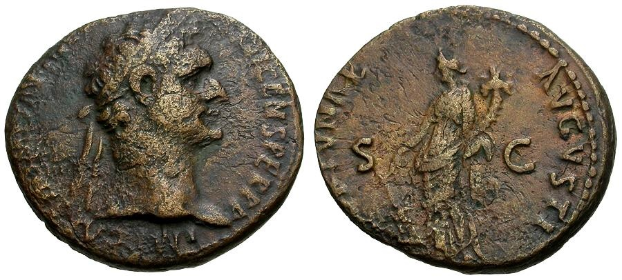 Ancient Coins - Domitian Æ AS / Fortuna