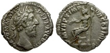 Ancient Coins - Commodus AR Denarius / Jupiter Seated