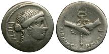 Ancient Coins - 48 BC - Roman Republic. Albinus Bruti f. AR Denarius / Clasped Hands Holding Caduceus