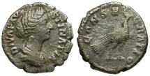 Ancient Coins - Diva Faustina II AR Denarius / Peacock