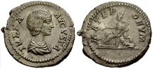Ancient Coins - Julia Domna AR Denarius / Cybele