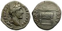 Ancient Coins - Antoninus Pius AR Denarius / Thunderbolt on Throne