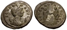 Ancient Coins - VF/VF Severina Silvered Antoninianus / Aurelian and Severina