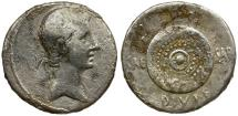 Ancient Coins - Roman Imperatorial. Octavian AR Denarius / Shield