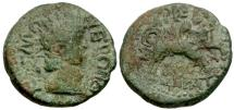 Ancient Coins - Nero. Thessaly. Koinon Æ Trihemiassarion / Thessalos and Bull