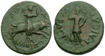 Ancient Coins - Macedon. Amphipolis Time of Augustus Æ24 / Artemis Riding Bull