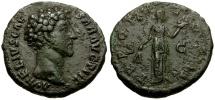 Ancient Coins - Marcus Aurelius as Caesar Æ AS / Pietas