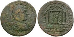 Ancient Coins - Elagabalus (AD 218-222). Ionia. Magnesia ad Maeandrum. M Aur Philomenos II as grammateus Æ30 / Temple