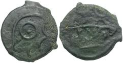 Ancient Coins - Celtic Britain. Cantii Cast Potin / Apollo & Bull