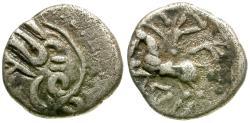 Ancient Coins - Ancient France. Celtic Gaul. Lingones. Kaletedou AR Quinarius / Horse