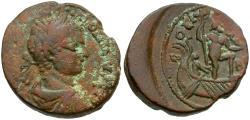 Ancient Coins - Elagabalus. Phoenicia. Berytus Æ27 / Poseidon in Galley