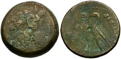 Ancient Coins - Ptolemaic Kings of Egypt. Ptolemy VI Philometor & Ptolemy VIII Euergetes. Joint Reign Æ Triobol / Two Eagles
