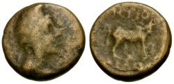 Ancient Coins - gF/gF Pisidia Antioch Æ17 / Men / Bull