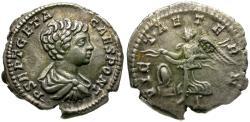 Ancient Coins - Geta, as Caesar (AD 198-209) AR Denarius / Victory