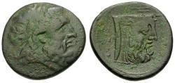 Ancient Coins - gF+/gF+ Akarnania Oiniadai Æ21 / Achelous