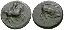 Ancient Coins - Thessaly. Krannon Æ15 / Bull