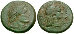Ancient Coins - Ptolemaic Kings of Egypt. Ptolemy V Epiphanes. Regal Coinage of Kyrenaica Æ22 / Libya