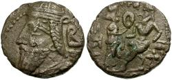 Ancient Coins - Kings of Parthia.  Vologases IV AR Tetradrachm /  Tyche Presenting Wreath to King