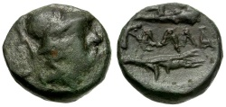 Ancient Coins - Moesia.  Kallatis Æ13 / Athena, Club and Grain Ear