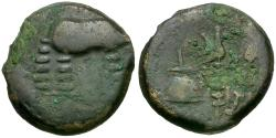 Ancient Coins - Ancient France. Celtic Gaul. Treveri Æ16 / Elephant and Priestly Implements